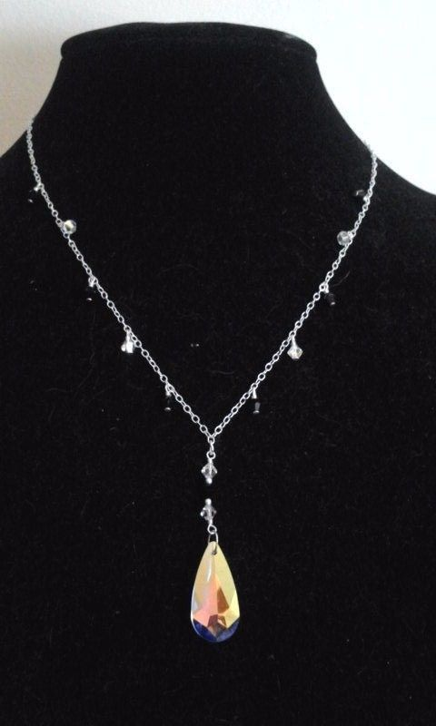 Vintage Silver Estate Black Beaded Chandelier Dangle Ab