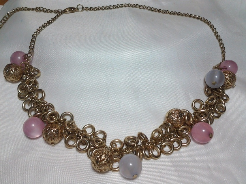 vintage estate gold baby pink blue moonstone beaded chain