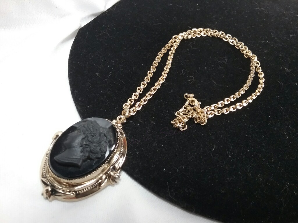 Victorian Gold Coro Black Mourning Cameo Necklace
