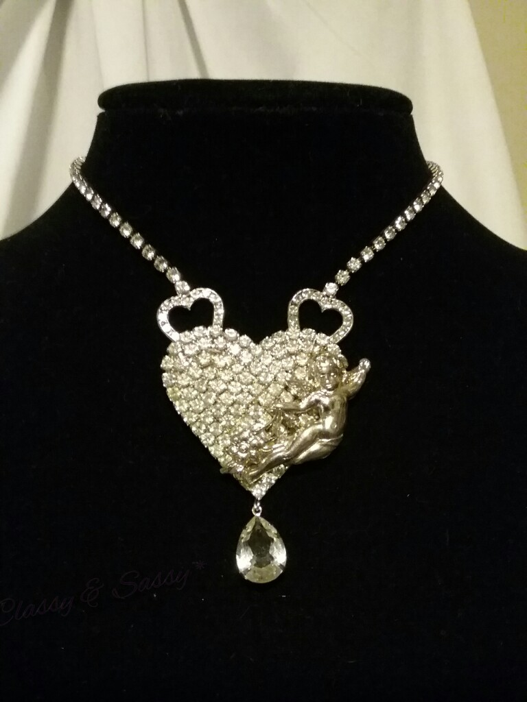 Silver Rhinestone Heart Cherub Angel Couture Chain Necklace