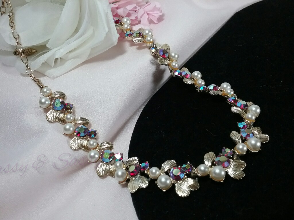 Coro Rhinestone Pearl Formal Necklace