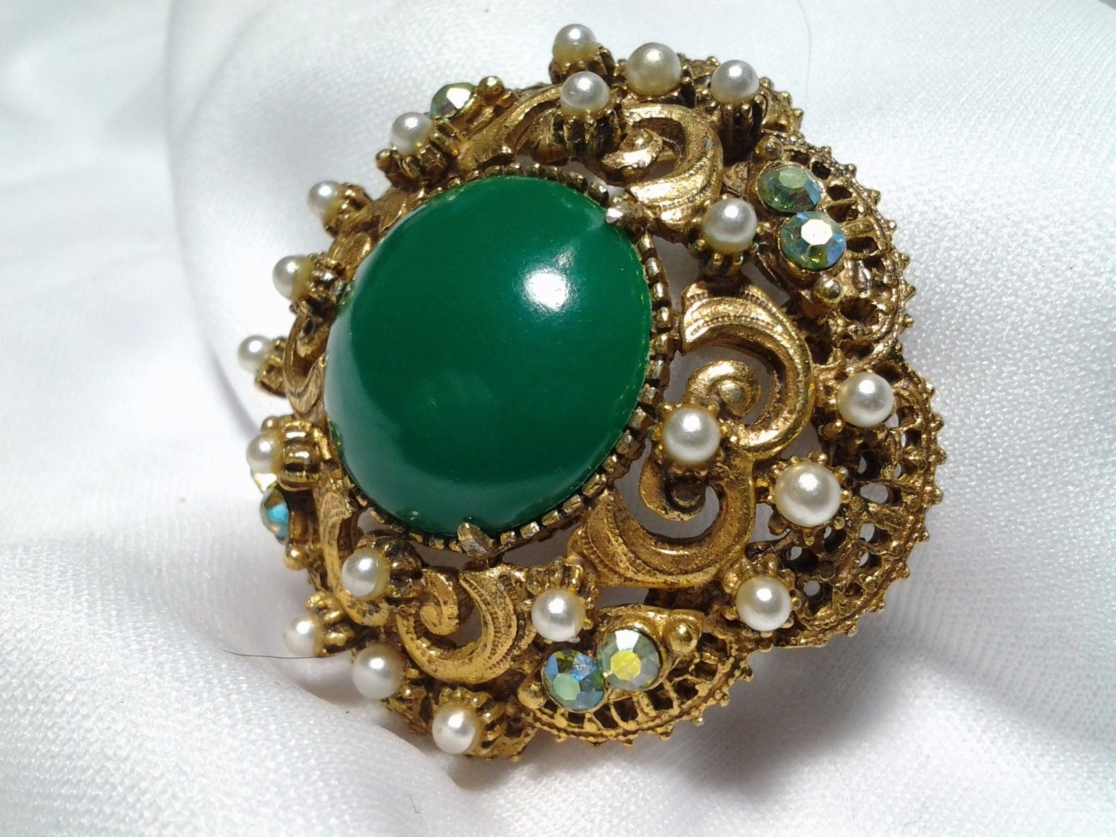 Gold Florenza Emerald Green Raised Dome Pearl Rhinestone Ab Brooch Pin