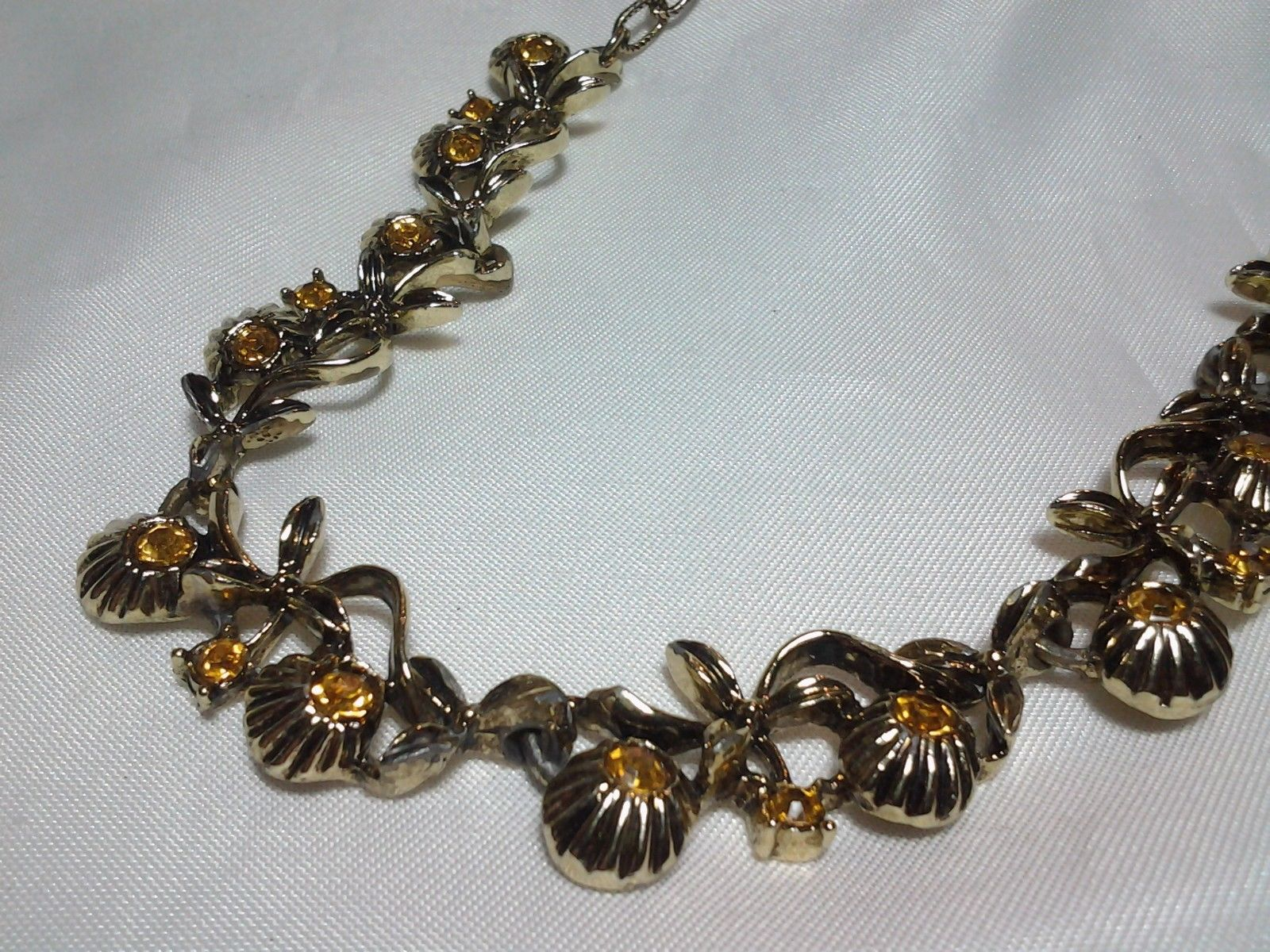 Gold Amber Topaz Rhinestone Collar Floral Necklace