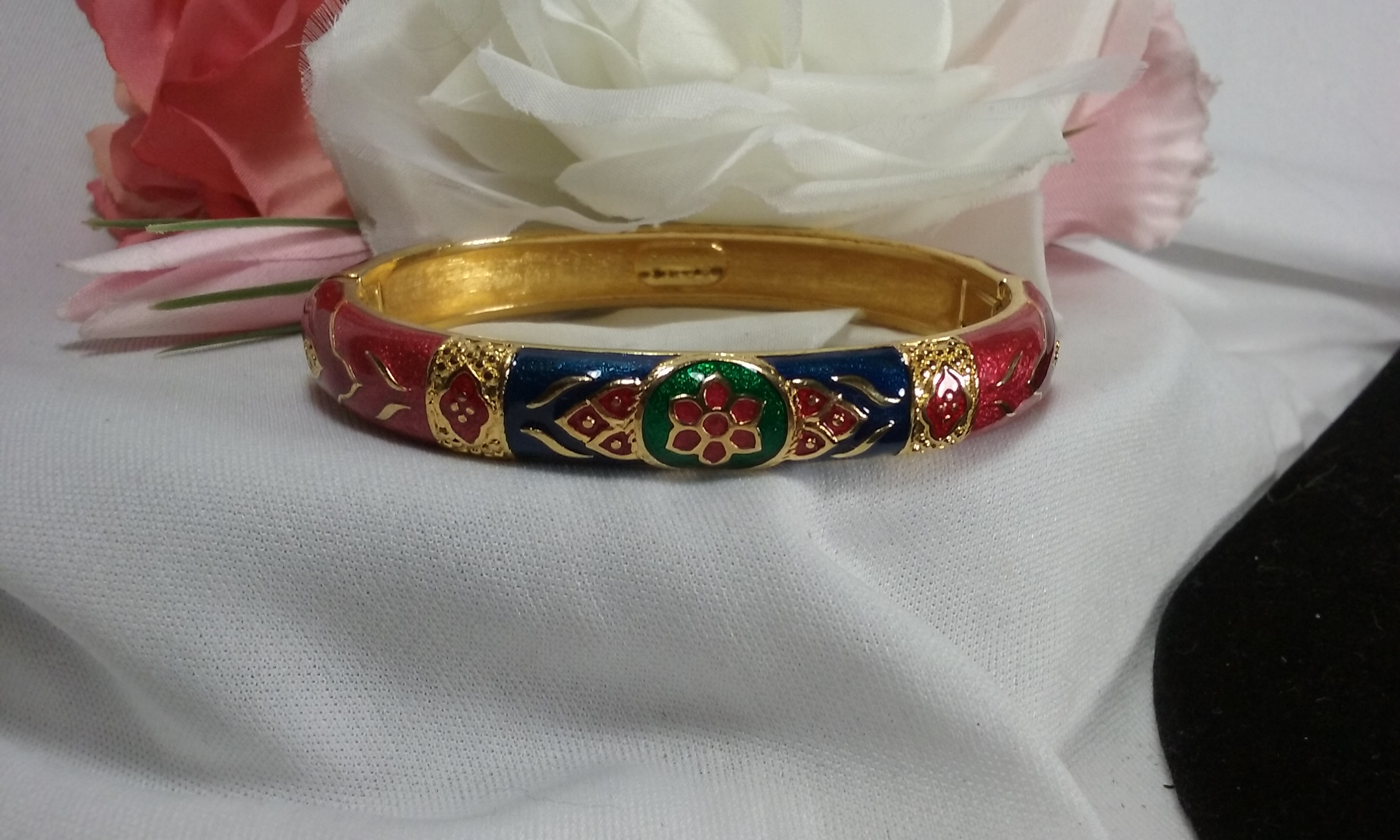 Gold Shakira Caine Red Blue Green Floral Enamel Bangle