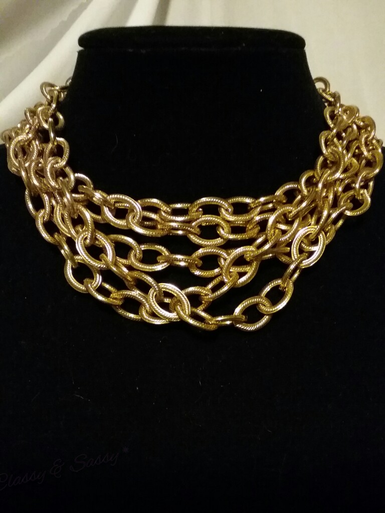 gold anne klein huge multi chain haute couture runway